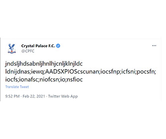 Crystal Palace gibberish tweet picked up by Times chief sports writers to increase engagement